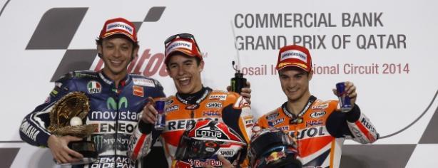 Márquez, Rossi y Pedrosa en Qatar
