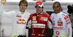 Alonso, Hamilton y Vettel