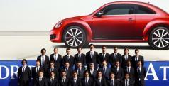 Los jugadores del Atlético de Madrid durante el acto de la entrega de los Beetle