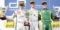 Grosjean en el podio de la primera carrera de GP2 en Hungría