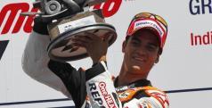 Dani Pedrosa en el podio de Indianápolis/ Repsolmedia