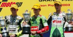 Jorge Lorenzo en su primer podio, en 2003/ MotoGP