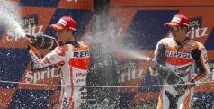 Dani Pedrosa y Marc Márquez en el podio