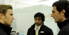 Dani Clos, Narain Karthikeyan y Pedro de la Rosa, pilotos de HRT/ HRT