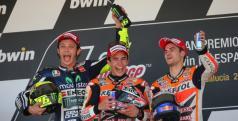 Márquez, Rossi y Pedrosa en el podio de Jerez