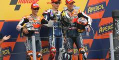 Jorge Lorenzo y Dani Pedrosa en el podio