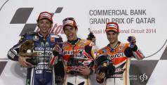 Rossi, Márquez y Pedrosa en el podio de Qatar