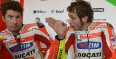 Valentino Rossi y Nicky Hayden en el test de Mugello