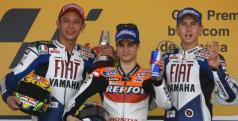 Rossi junto a Lorenzo y Pedrosa en el podio de Jerez 2010
