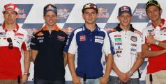Los pilotos en la rueda de prensa del GP de Indianápolis/ motogp.com