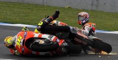 La caída de Stoner y Rossi en Jerez