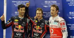 Los tres clasificados del GP de Singapur